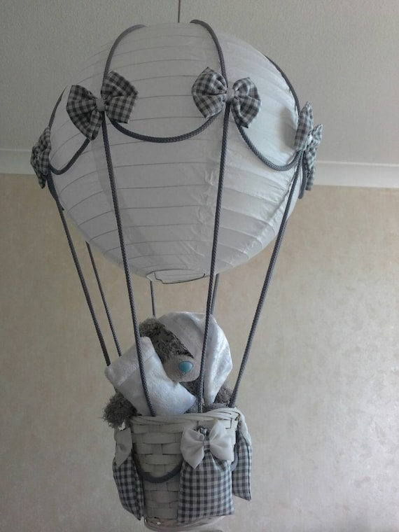 Me to you Teddy in a hot air balloon nursery light shade Made to order