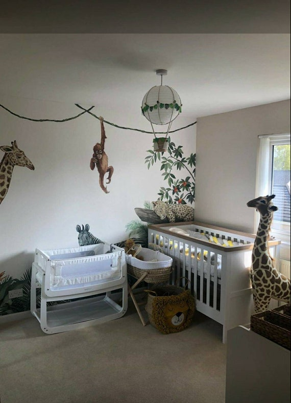 Jungle Theme Hot Air Balloon Nursery, Jungle Lamp Nursery