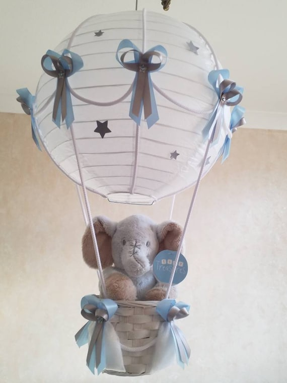 Elephant Hot Air Balloon Nursery Light, Hot Air Balloon Lampshade