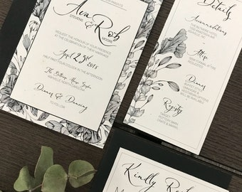 Ornate blooms invitation suite sample- black and white wedding invitation, linework, flowers, floral, eco friendly , recycled invitation