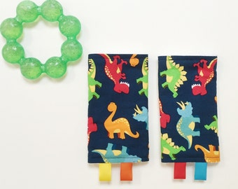 Teething Pads Dinosaurs // Beco Tula Baby Hawk Mei Tai Bjorn // Blue