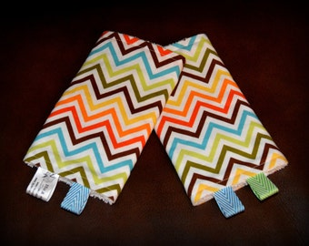 Teething Pads Autumn Chevron reversible to white terry // Beco Tula Bjorn Boba and MORE