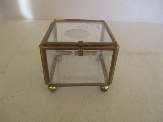 Fantastic Vintage Etched Glass Display Box Small Glass And Brass Box Mid Century Display Box Jewelry Box Dailytribune Chair Design For Home Dailytribuneorg