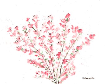 Cherry blossom watercolour painting cherry blossom art pink flowers Pink decor, pink blossoms, Sakura art inches