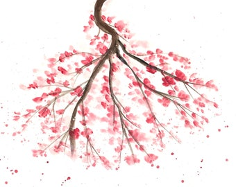 Cherry blossoms art, pink blossoms art, pink decor, pink flowers, Sakura art, Japanese flowers, spring flower