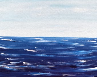 Blue painting, sea painting, acrylic painting, blue wall art, blue decor, sea artwork, waves art, seaside painting, acrylic paintings, art