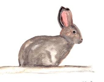 Rabbit art Bunny rabbit decor Original watercolour Rabbit painting Nursery art Nursery decor Rabbit watercolour 12 x 9 inch nursery art