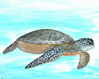 Sea turtle painting sea turtle watercolour original watercolour turtle painting 12 x 9 inch one of a kind