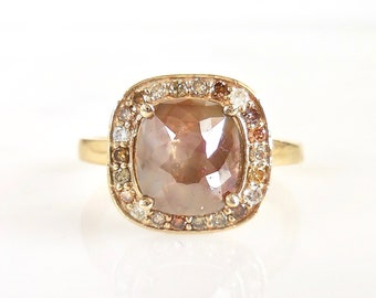Square Diamond Engagement Ring - Rose Cut, Cognac, Chocolate Brown, Fancy color Diamond Halo, Handmade, Conflict Free, Square Cushion, Gold