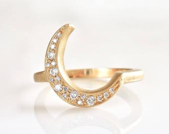 Diamond Crescent Moon Ring , Original Luna Design, Stacking, Yellow, Rose, White Gold, Pave Diamonds, Handmade, Crescent Moon Ring, Crescent