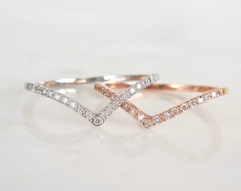 Modern Diamond Band - Chevron, Diamond V, Rose White or Yellow Gold, Diamond Wedding Band, Stackable, Knuckle, Skinny, Classic, Midi