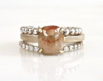 1e275689eb Square Rose Cut Diamond Ring, Square Diamond Engagement Ring, Cushion Diamond  Ring, Peach Diamond Ring, Raw Diamond Ring