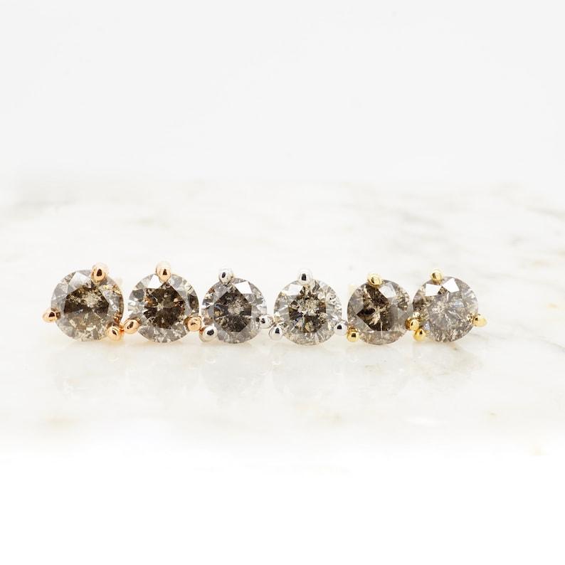 30688d79e48 Custom Salt + Pepper Diamond Stud Earrings in 14 karat gold