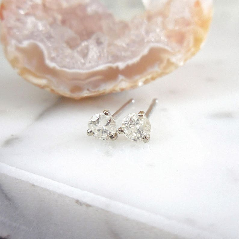 ff3ac416976a6 Diamond Stud Earrings, Small Round Diamond Studs, .30 carat Diamond Studs,  3 Prong Martini Setting, Icy Salt, 14k White Gold