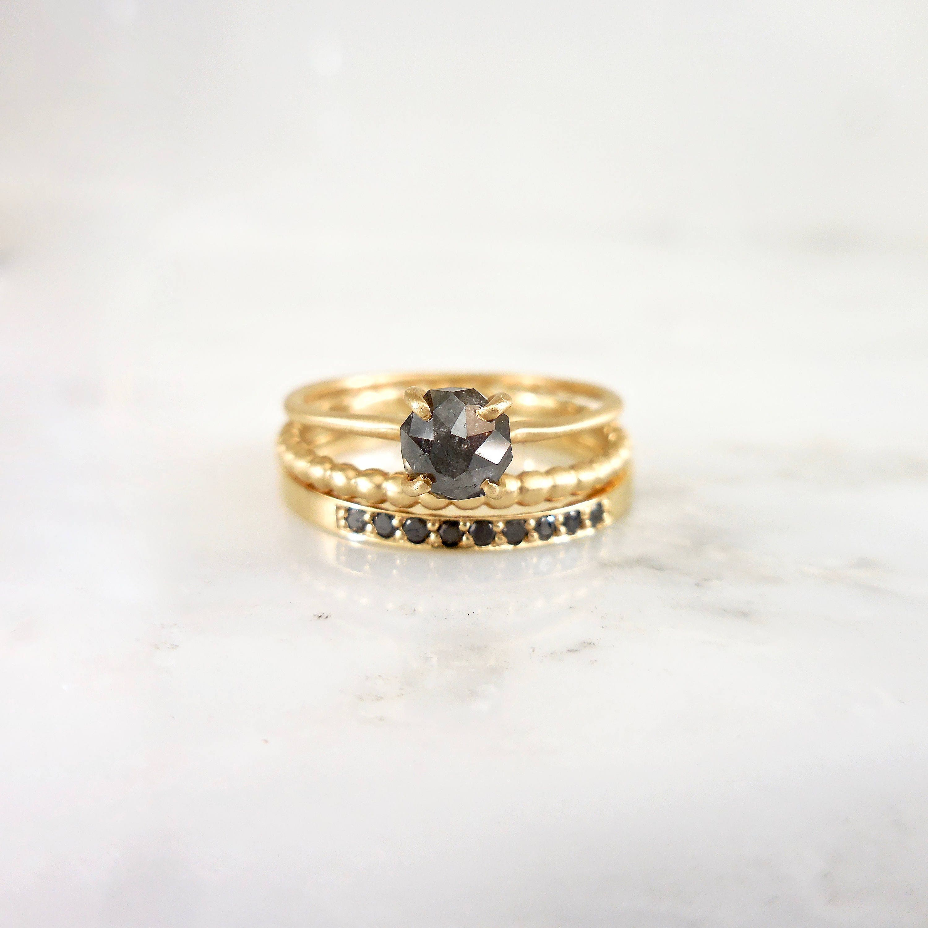 Rustic Diamond: Diamond Ring Rustic Rose Cut Diamond Black Pepper Diamond