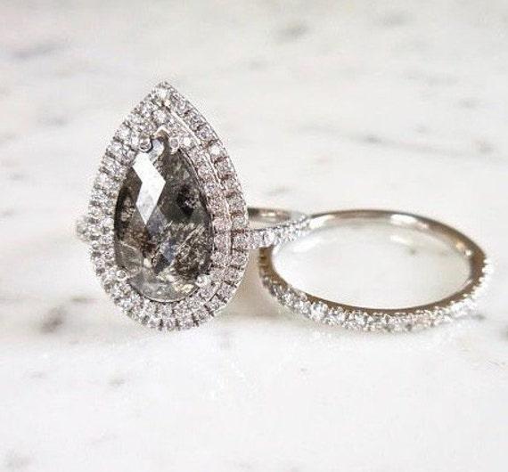 Salt and Pepper Diamond Best Seller |K-50 Round Round Rose Cut Diamond Wedding Ring Diamond Thanksgiving