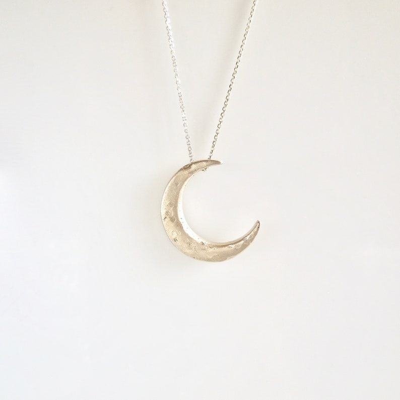 eeb2d78972829 Celestial Crescent Moon Necklace in 14 k, Silver or Pave Diamonds, Handmade  by Jewelluxe