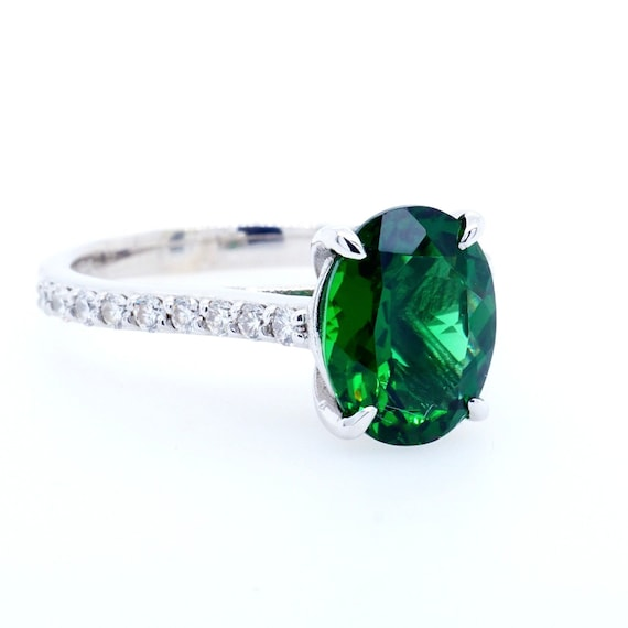 Green Tourmaline Engagement Ring White Gold, Chrome Tourmaline Ring, Tourmaline Diamond Ring, Oval Tourmaline White Gold Ring