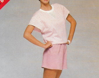 """A Short Sleeve, Drawstring Waist Top and Elastic Waist Shorts Sewing Pattern for Women: Uncut - Sizes 12-14-16 Bust 34""""-38"""" • See & Sew 5291"""