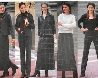 "A Zip-Front Long Sleeve Top, Drop-Waist A-Line Skirt & Tapered Pants Pattern for Women: Uncut - Sizes 14-16-18 Bust 36""-40"" ~ Butterick 5834"