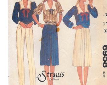 """A Pullover, Sailor Collar Top, Center Slit Pleated Skirt & Front Tucked Pants Sewing Pattern for Women: Size 8 Bust 31-1/2"""" • McCall's 6958"""