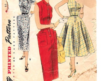 """A Sleeveless or Short Sleeve, Straight or Flared Skirt Shirtwaist Dress Sewing Pattern for Women: Retro Size 16, Bust 34"""" • Simplicity 1199"""