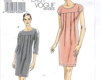 A Pullover, Cap or 3/4 Sleeve, Tapered, Stretch Knit Dress Pattern for Women: Uncut - Sizes 8-10-12-14 ~ Very Easy Vogue 8629