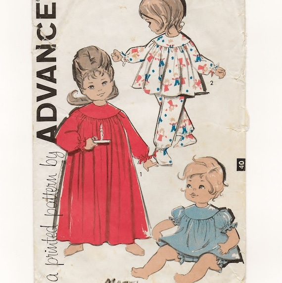A Schlafanzug & Nachthemd Schnittmuster für Kleinkinder: | Etsy