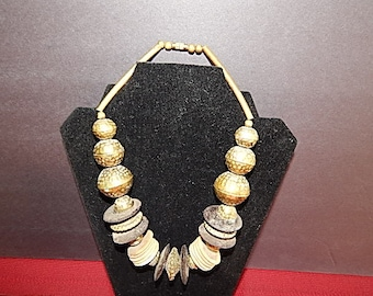 Very Substantial Brass & Wood Vintage Necklace