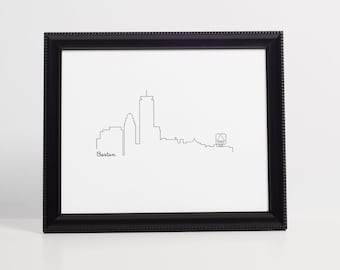 Boston Skyline Art Print - black - Art Print - 8x10 instant download