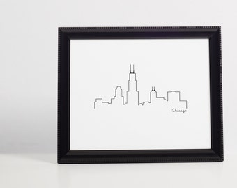 Skyline Printable Wall Art - Chicago - Wall Art - 8x10 instant download