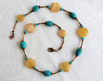 Yellow Citrine and Turquoise Necklace