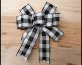 Buffalo Plaid Black and White Wreath Mini Wreath Bow Christmas Tree Bow 6 inch wreath bow