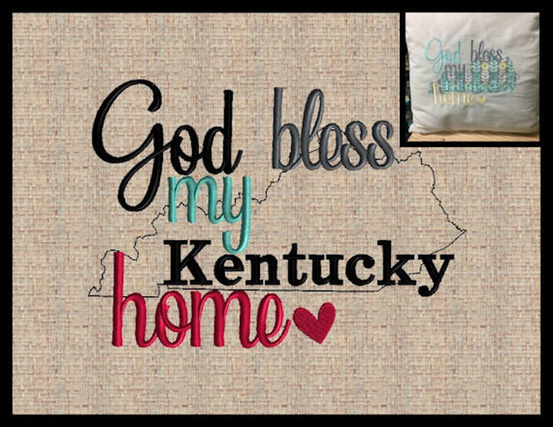 Raggy kentucky applique state embroidery design god bless my etsy