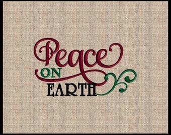 Peace on Earth Machine Embroidery Design Christmas Embroidery Design Bible Scripture Embroidery Design Bible Verse Design