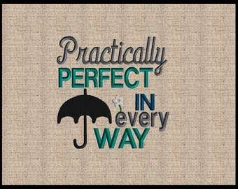 Mary Poppins Embroidery Design Mary Poppins Practically Perfect in Every Way Embroidery designs Machine Embroidery