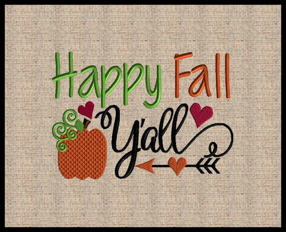 Happy Thanksgiving Yall >> Happy Fall Yall Embroidery Design Fall Embroidery Design Etsy