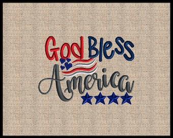 God bless America Machine Embroidery Design Flag Embroidery Design Star Heart Embroidery Design 4 sizes 4x6 5x7 6x9 7x10