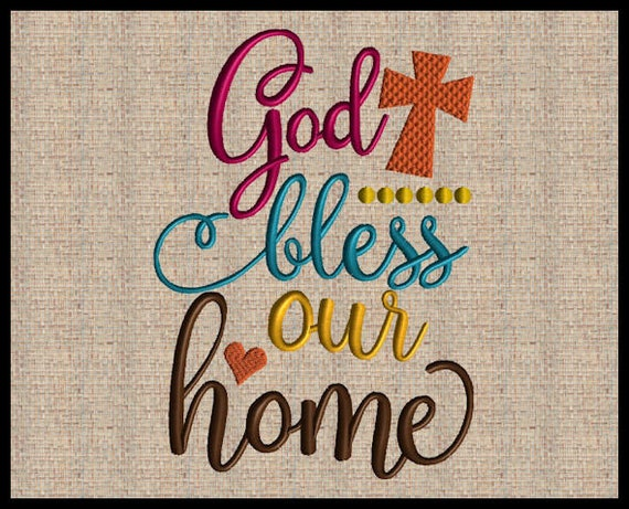 Very best God bless our Home Machine Embroidery Design Scripture Embroidery  ZT59