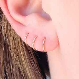 NAG.HC 18K Gold Plated Small Hoop 316L stainless steel Earrings-Cuff Earrings Huggie Stud-Gold//Silver//Rose Gold