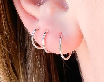 Small Sterling Silver Hoops, Silver Huggie Hoop Earrings, Tiny Silver Hoop Earrings, 8mm 9mm 10mm