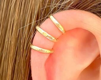 Gold Filled Ear Cuff, Cartilage Ear Wrap, Set of Three Ear Cuffs OR Single Ear Cuff