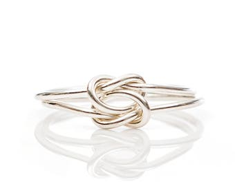 Silver Knot Ring, Double Knot Ring, Tie the Knot, Knot Ring, Silver Ring, Sterling Silver, Bridesmaid Rings