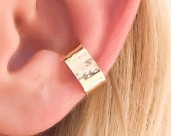 Hammered Ear Cuff, Gold Filled Ear Cuff, Gold Ear Wrap, Non Pierce Ear Cuff, Gold Wrap Earrings, Hammered Ear Cuff