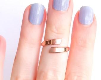Rose Gold Adjustable Ring, Rose Gold Ring, Midi Ring, 14K Rose Gold-Filled Midi Ring