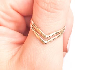 Gold Chevron Ring, 14K Gold Filled Double Chevron Ring, 2 V Gold Ring, Hammered Gold Ring, Gold Thumb Ring, Gold Statement Ring