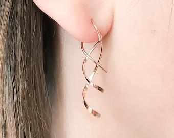 Medium   Rose Gold Filled  Gold Filled  Sterling Silver  Open Hoop  Wire Threader Pull Thru Hammered Teardrop Threader Earrings