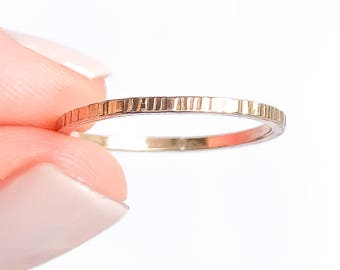 Hammered Gold Stack Ring, 14K Yellow Gold Filled Ring