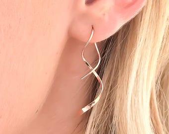 Rose Gold Earrings, Rose Gold Spiral Earrings, Spiral Threader Earrings, Rose Gold Filled Earrings