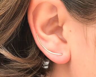 7a046a66d Gold Ear Climber, Dainty Ear Crawler, Ear Cuff, Gold Filled Earrings,  Minimalist Earrings, Ear Climbers, Gold Earrings, Gift for Mom
